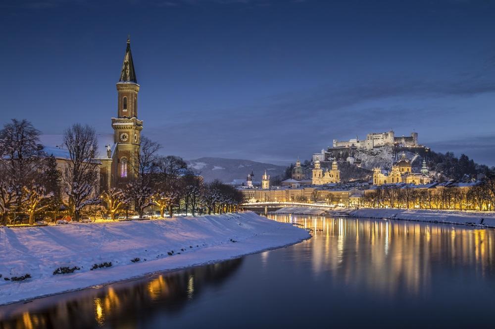 Salzburg winter dusk