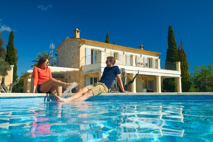 Couple enjoying holiday in Spanish finca